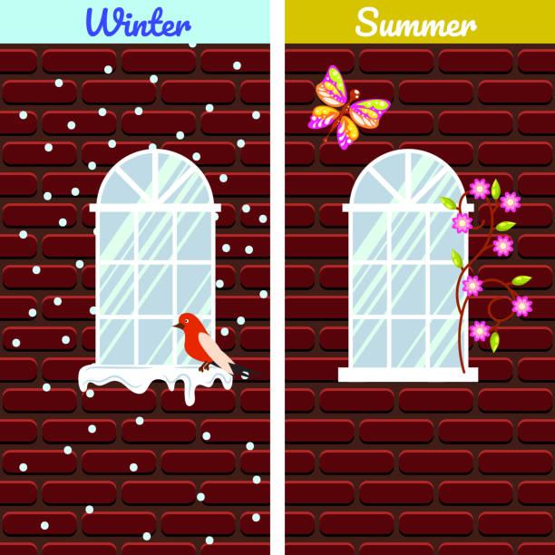 windows auf rotem backstein mauer bauen winter- und vergleich - gesims stock-grafiken, -clipart, -cartoons und -symbole