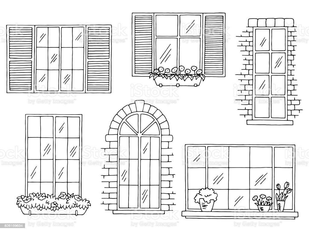 Windows Set Graphic Black White Isolated Sketch Illustration