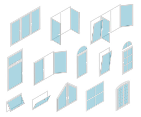 Windows Types Sign 3d Icon Set Isometric View. Vector
