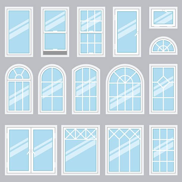 stockillustraties, clipart, cartoons en iconen met windows types - raam