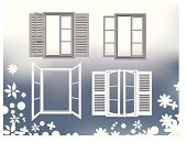Illustration of several windows. Easy to change color and appearance.