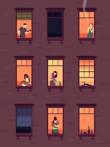 Windows with neighbors. Residential exterior window, neighborhood people talking building group fun indoors apartments