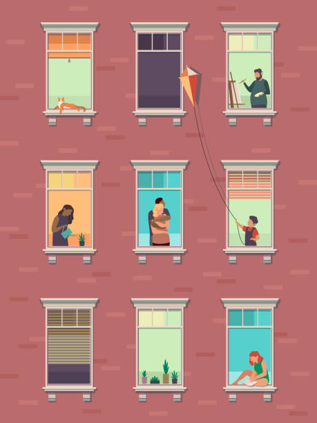 illustrazioni stock, clip art, cartoni animati e icone di tendenza di finestre con le persone. aperto finestre vicini persone comunicare condominio esterno esercizio a casa mattina - appartamento