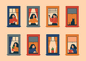 Windows with women doing daily things in their apartments - drinking tea, talking phone, carrying potted plant, reading book, listening music, breathing fresh air. Vector illustration in flat style.