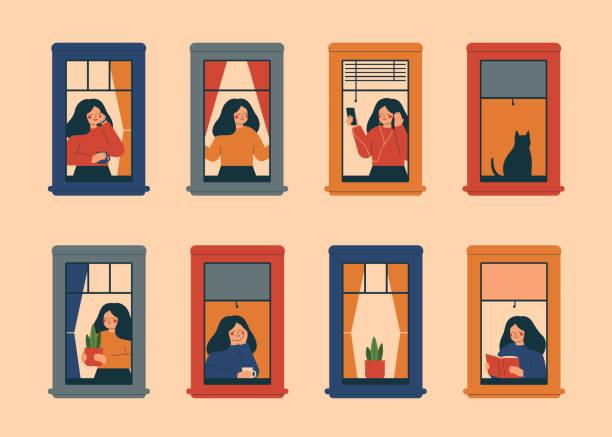 stockillustraties, clipart, cartoons en iconen met vensters met vrouwen die dagelijkse dingen in hun flats doen - raam