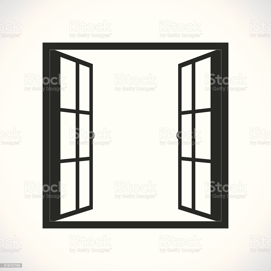 Windows-half open window vector vector art illustration
