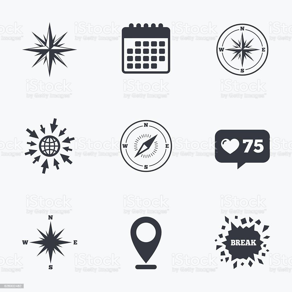 Róża Wiatrów Ikony Nawigacji Kompas Symbole Stockowe