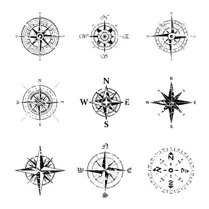 Windroses grunge outline set