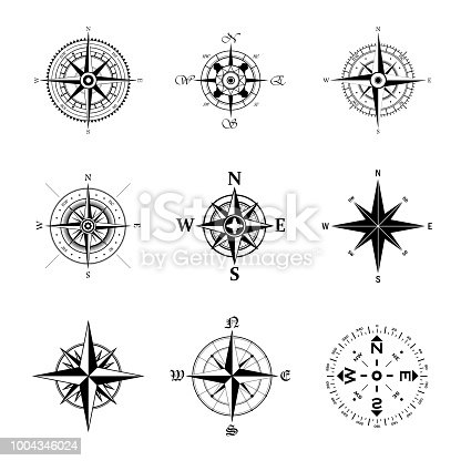 Black wind rose silhouettes set isolated on white background