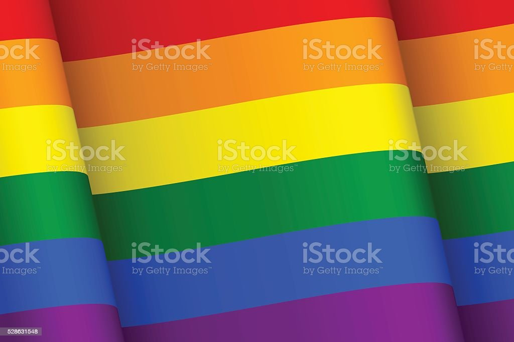 Wind-shaken rainbow flag vector art illustration