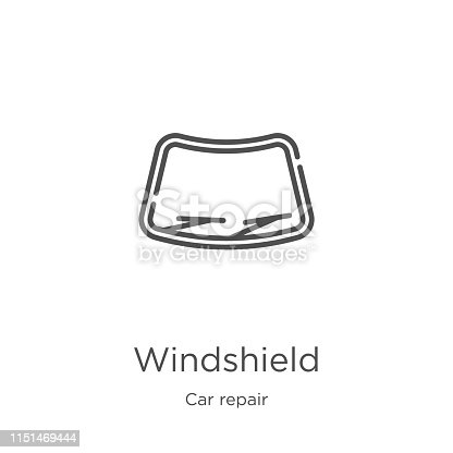 windshield icon. Element of car repair collection for mobile concept and web apps icon. Outline, thin line windshield icon for website design and mobile, app development