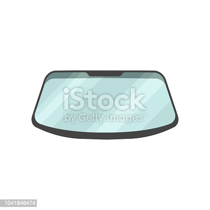 Windshield of passenger automobile. Part of car. Graphic element for advertising banner, poster or flyer of auto garage. Cartoon style icon. Colorful flat vector design isolated on white background.
