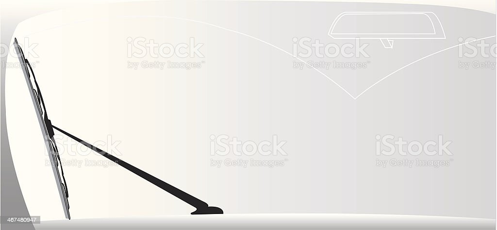 A windshield wiper on a car front window vector art illustration