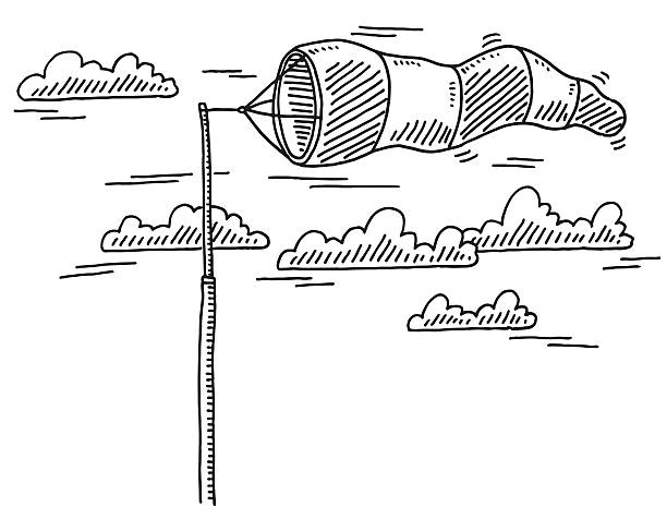 Windsock On A Pole Drawing Hand-drawn vector drawing of a Windsock On A Pole. Black-and-White sketch on a transparent background (.eps-file). Included files are EPS (v10) and Hi-Res JPG. environment stock illustrations