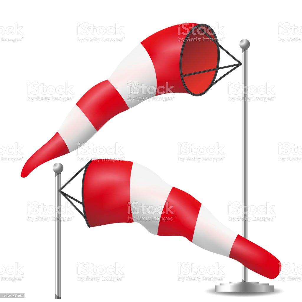 Vetor de cata-vento. Cata-vento meteorologia realista inflado pelo vento. Vermelho e branco - ilustração de arte em vetor