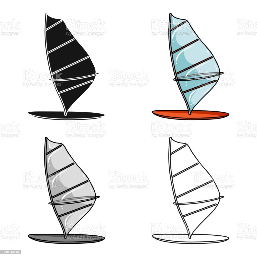 Windsurf styrelsen ikonen i tecknad stil isolerad på vit bakgrund. Surfing symbol Lager vektor web illustration. - Royaltyfri Atlet vektorgrafik