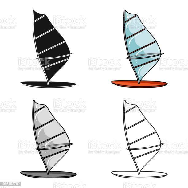 Windsurf Styrelsen Ikonen I Tecknad Stil Isolerad På Vit Bakgrund Surfing Symbol Lager Vektor Web Illustration-vektorgrafik och fler bilder på Atlet
