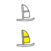 cartoon drawing of a windsurf