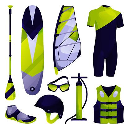 Windsurfing equipment, sport tool set, vector icon