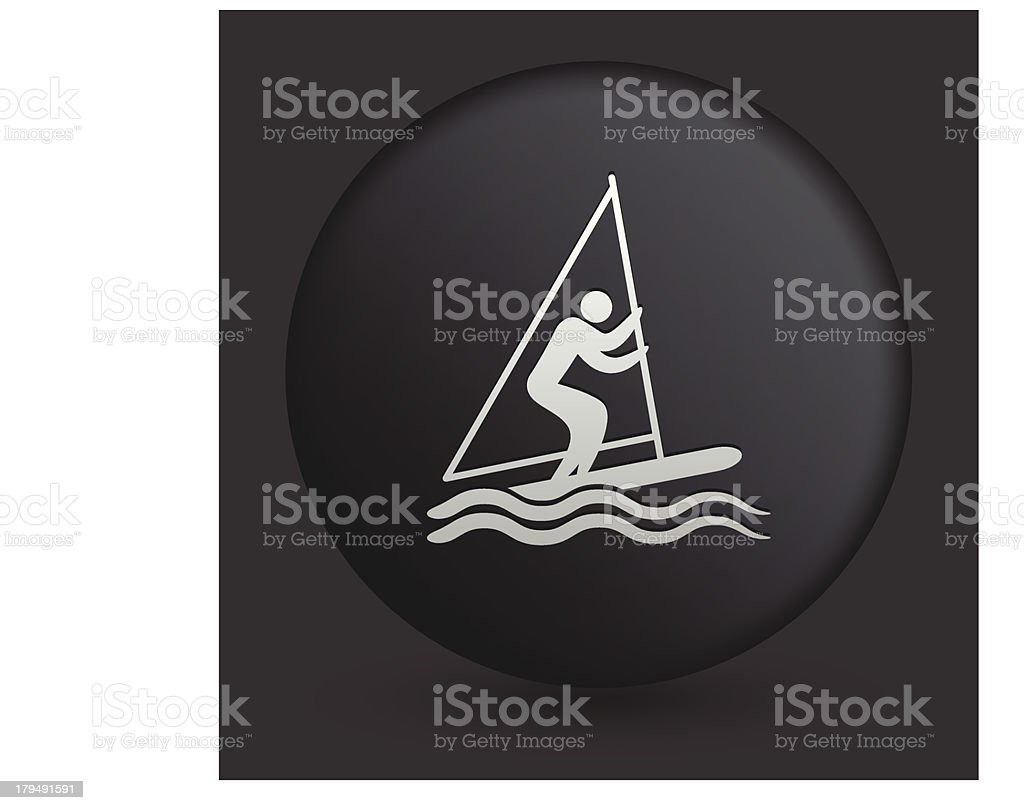 Windsurfing Icon on Round Black Button royalty-free stock vector art