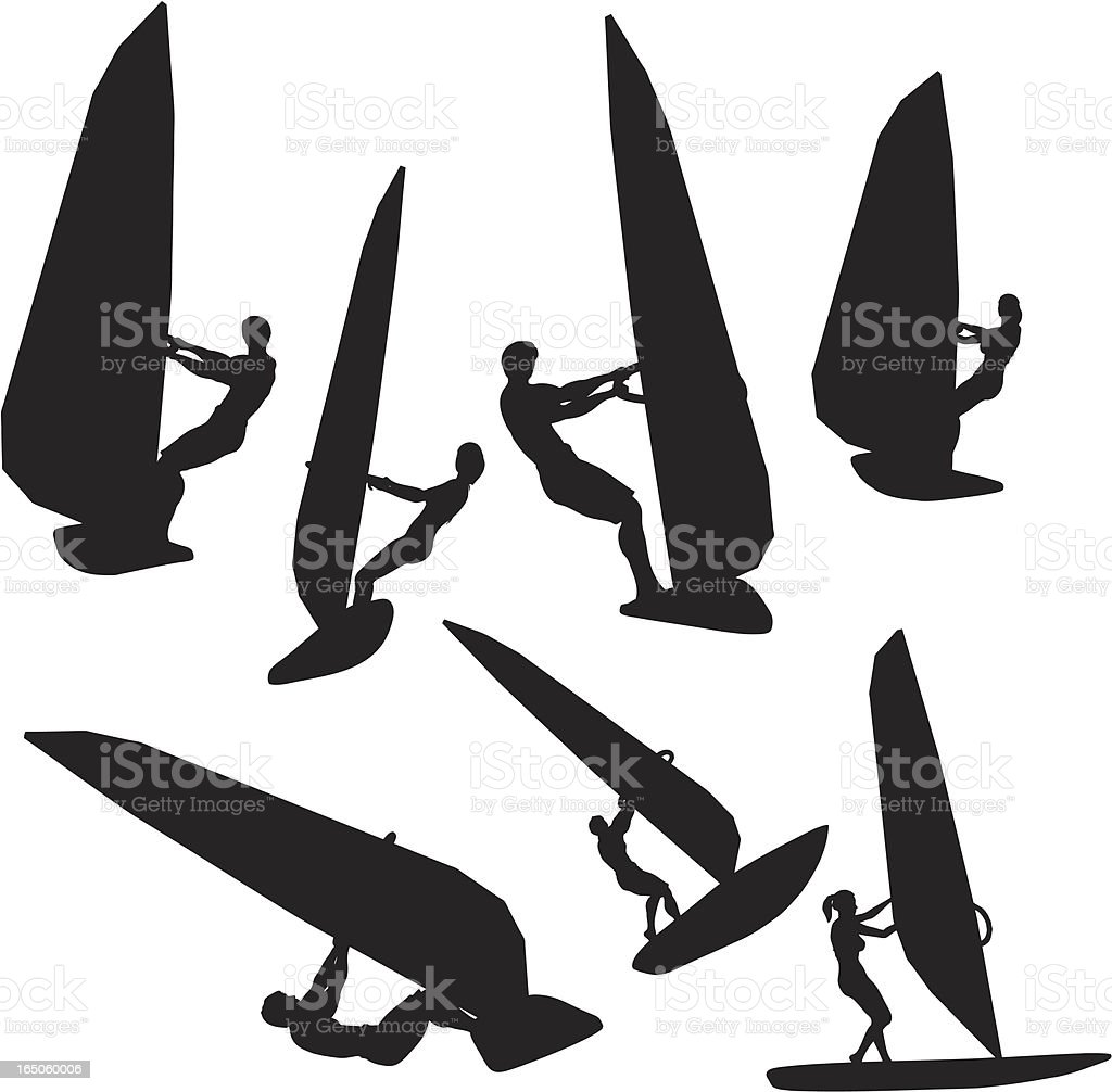 Windsurfing Silhouette Collection royalty-free stock vector art