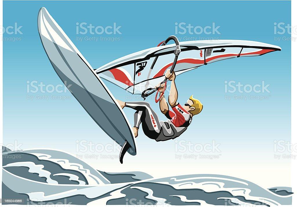 Windsurfing vector art illustration