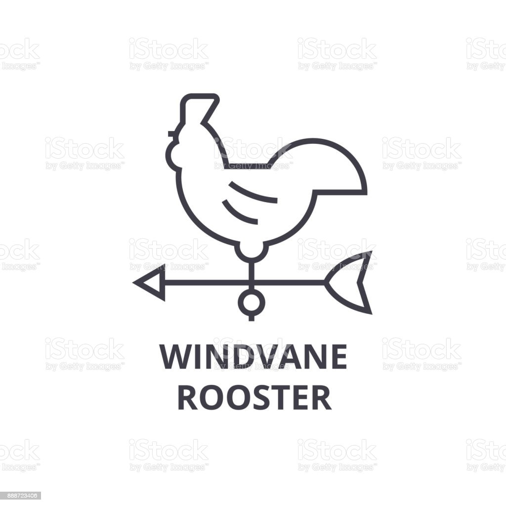 windvane rooster line icon, outline sign, linear symbol, vector, flat illustration vector art illustration