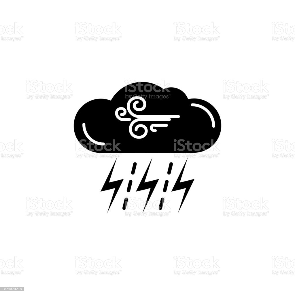 Windy and Thunderstorm whether icon vector art illustration