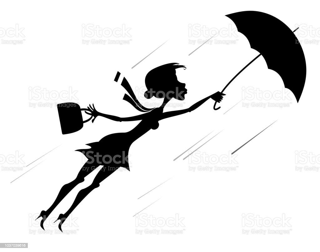 Ilustración De Día De Viento Y De La Mujer Con Paraguas
