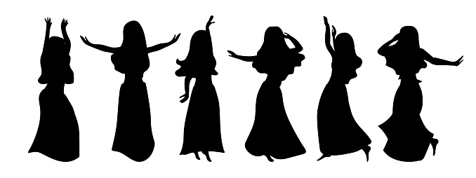 A windy outfit of six illustrations of silhouettes of beautiful girls dancing belly dance. Graceful restful beauties in different poses on a white background.