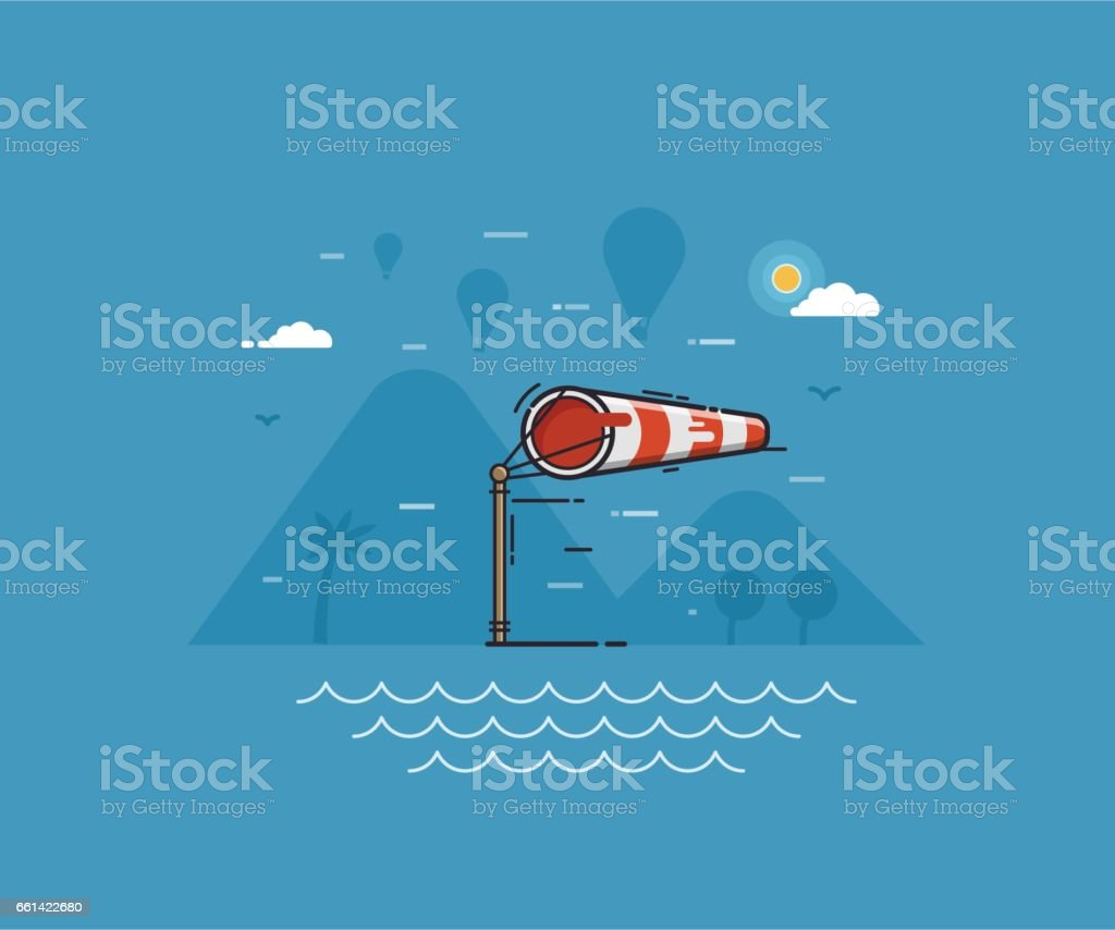Ilustração do conceito de tempo ventoso - ilustração de arte em vetor