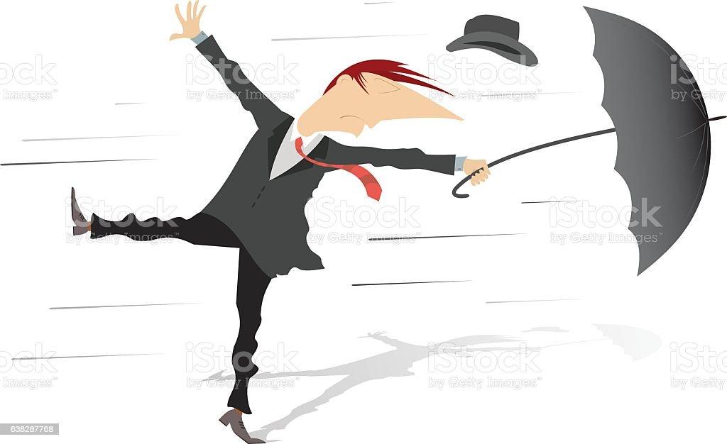 Windy weather vector art illustration