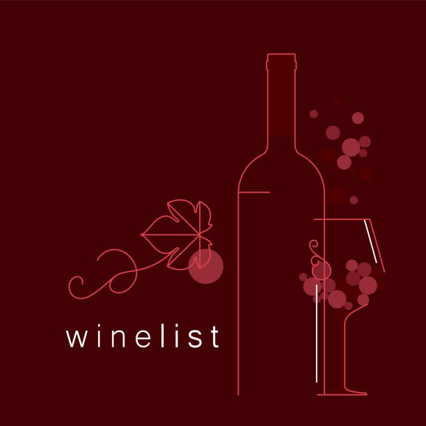 wine. a bottle, a glass, grapes with a leaf. linear vector illustration for menu, tasting, wine list. - butelka wina stock illustrations
