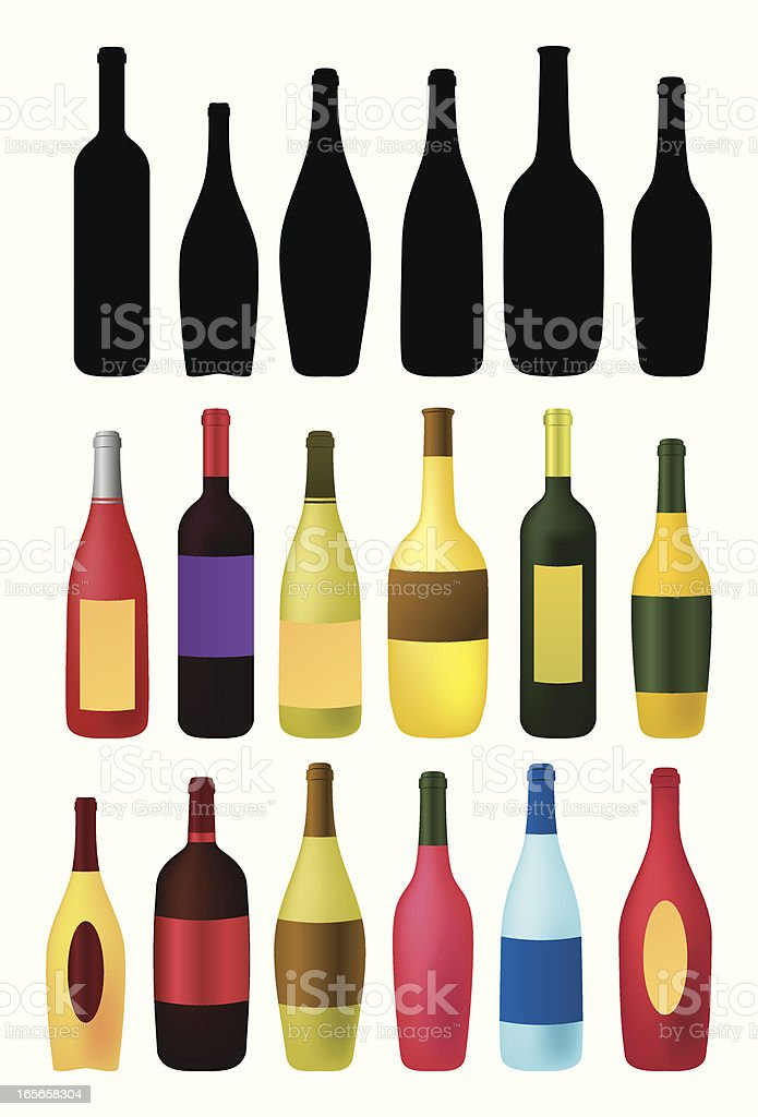 wine and beverages bottles outlines royalty-free stock vector art