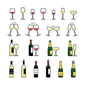 Wine and champagne bottles and glasses icons set.
