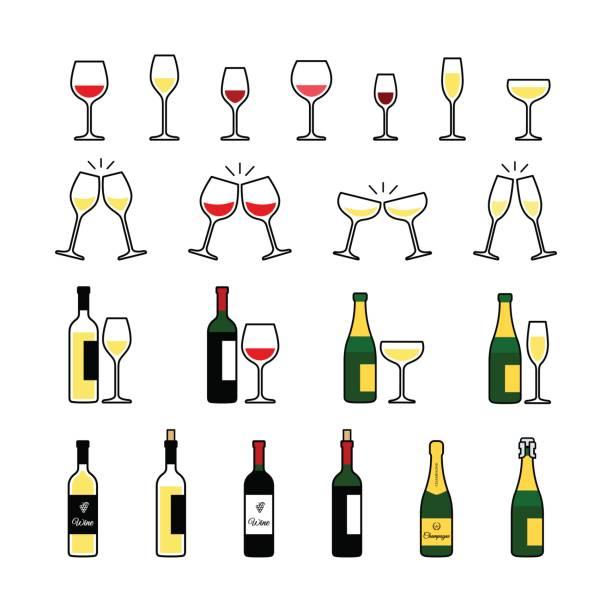 ilustrações, clipart, desenhos animados e ícones de conjunto de ícones de garrafas e copos de vinho e champanhe. - brinde