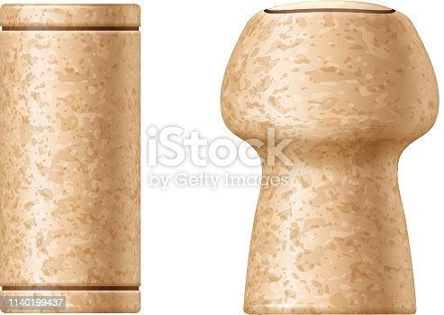 istock Wine and champagne corks set vector illustration. 1140199437