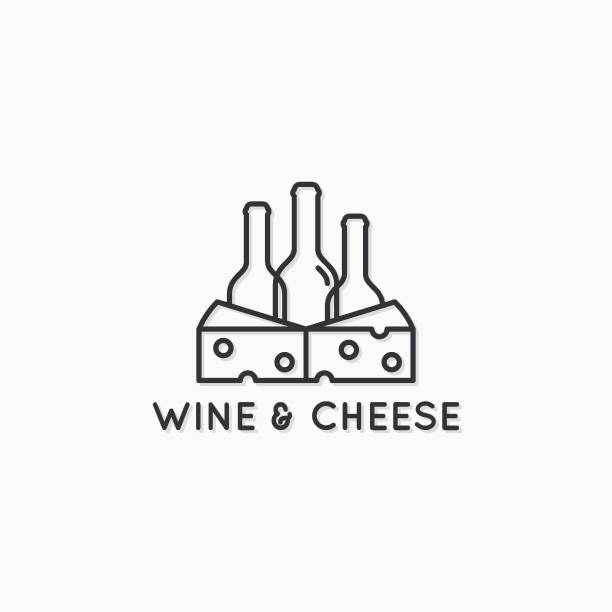 ilustrações de stock, clip art, desenhos animados e ícones de wine and cheese linear design. wine bottles with cheese slice on white background - queijo