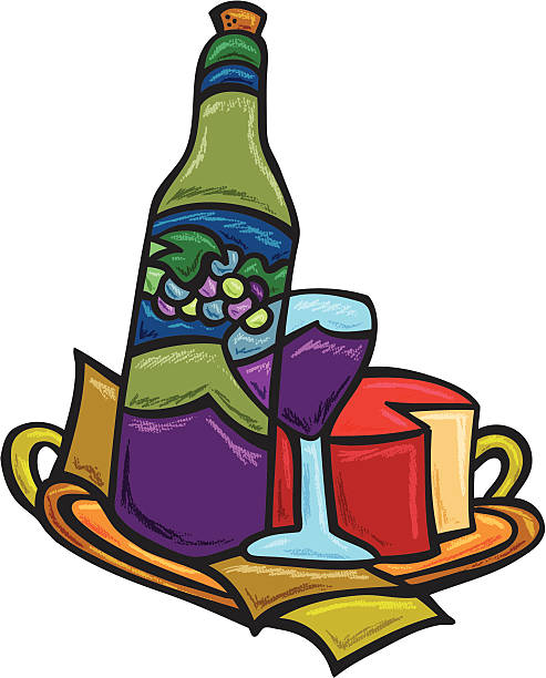 Wine and Cheese on tray vector art illustration