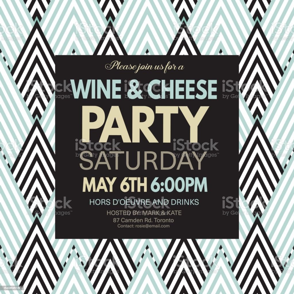 Wine And Cheese Party Invitation Template On A Geometric Pattern ...