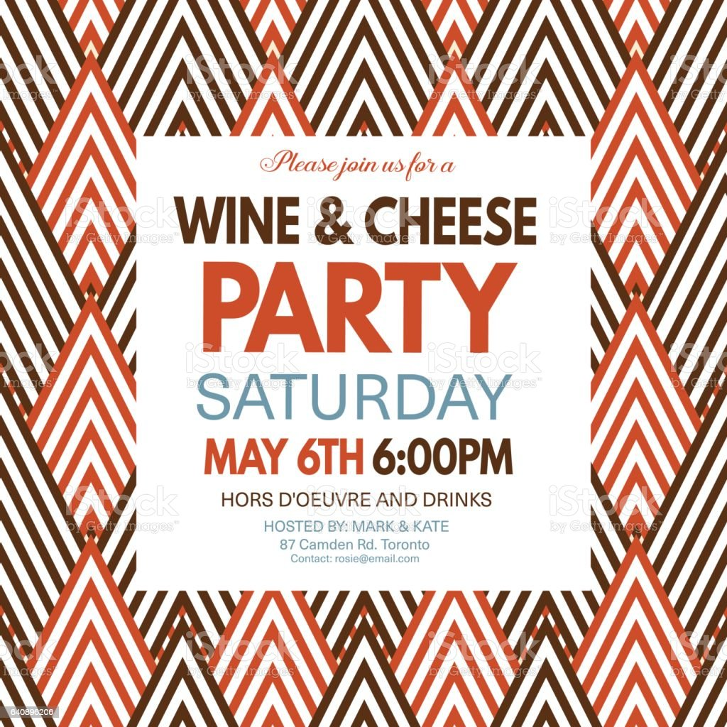 Wine and cheese party invitation template on a geometric pattern wine and cheese party invitation template on a geometric pattern royalty free wine and cheese stopboris Image collections