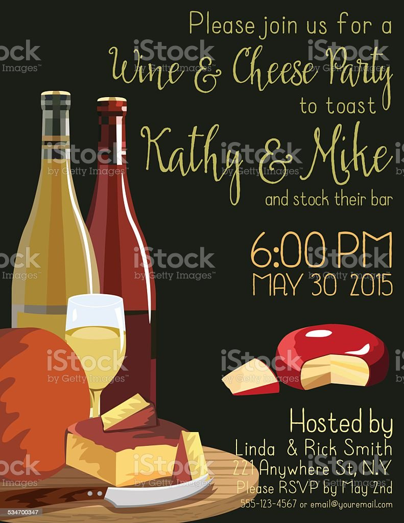 Wine And Cheese Party Invitation Template Stock Vector Art & More ...