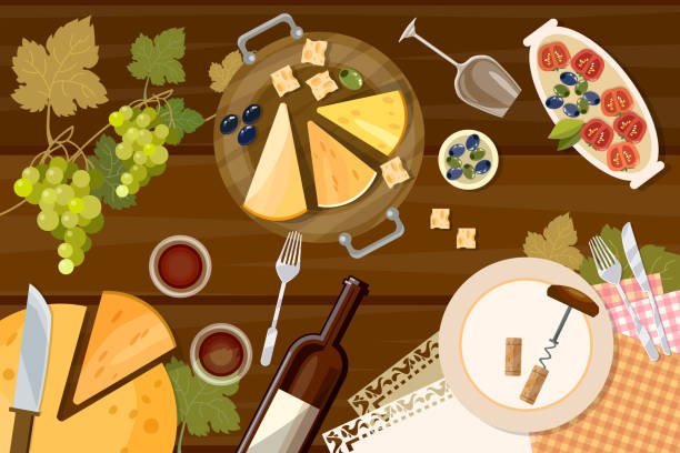 wine and cheese tasting top view, wine bottle and grapes - käserolle stock-grafiken, -clipart, -cartoons und -symbole