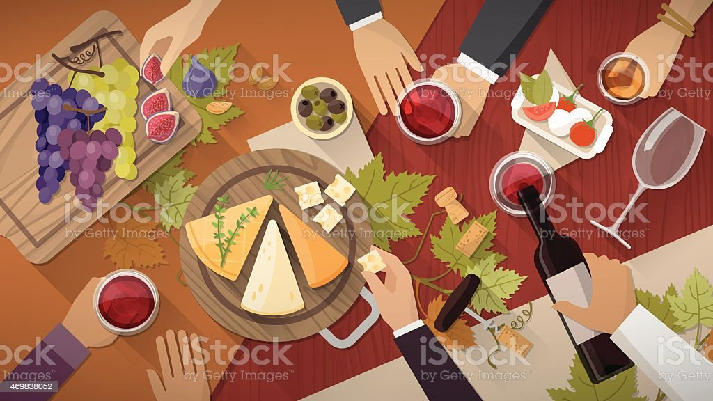 Wine and cheese tasting vector art illustration