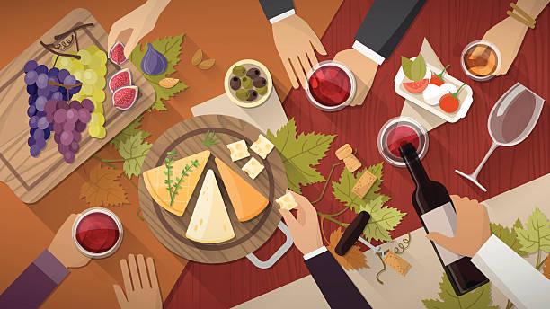 illustrations, cliparts, dessins animés et icônes de dégustation de vins et de fromages - entrée