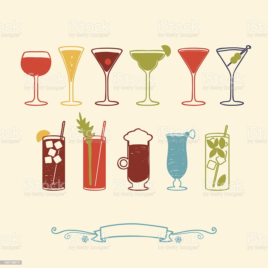 wine and cocktails vector art illustration