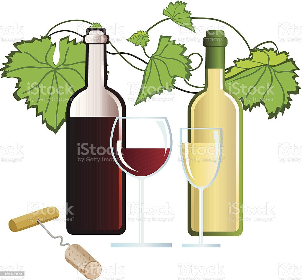 Wine and Corkscrew vector art illustration