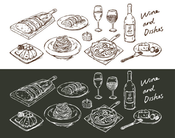 Wine and dish Wine and dish serving dish stock illustrations
