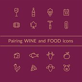 Wine and food pairing icons