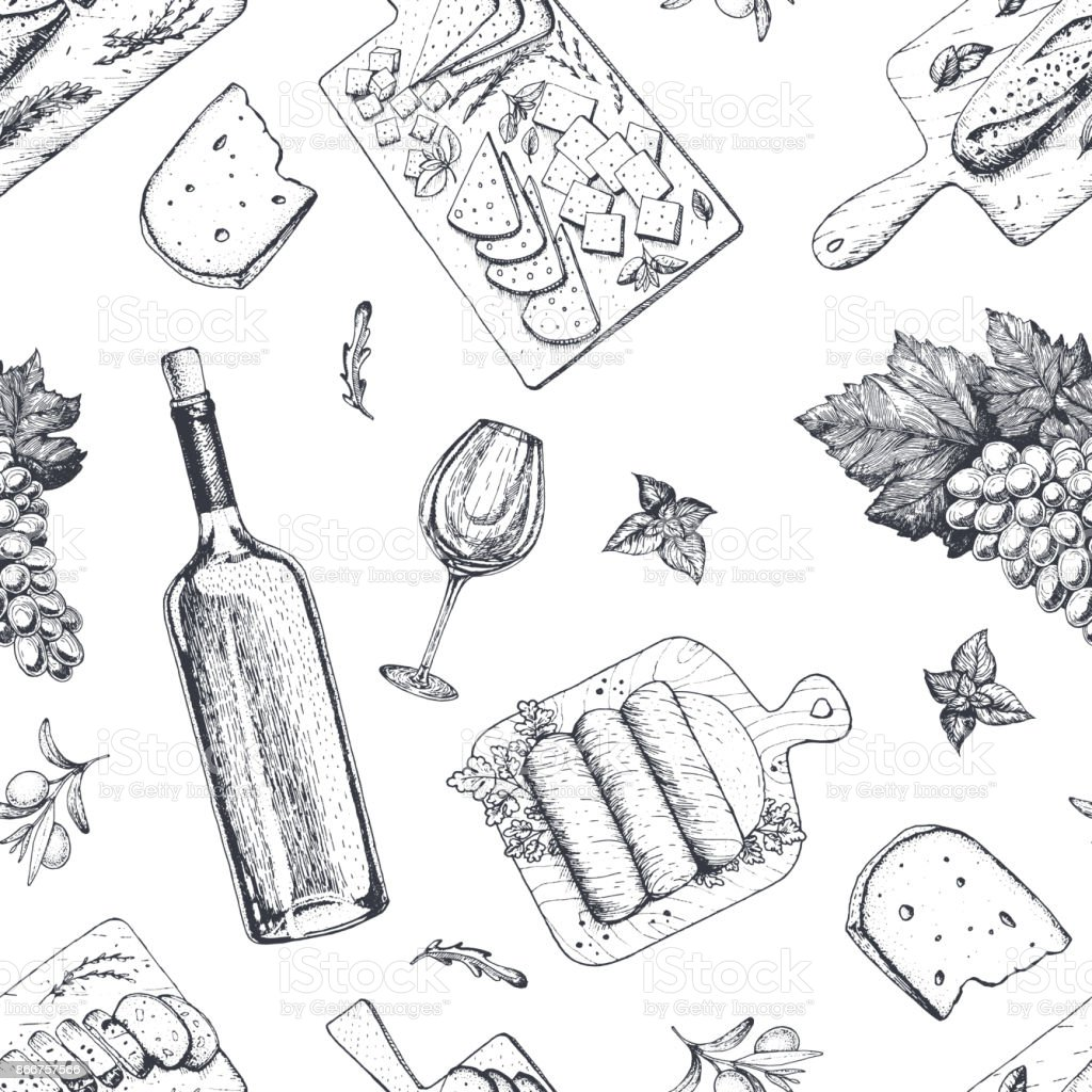 Wine and gourmet snacks seamless pattern. Cheese, meat, bread, grape hand drawn. Gourmet food pattern. royalty-free wine and gourmet snacks seamless pattern cheese meat bread grape hand drawn gourmet food pattern stock illustration - download image now